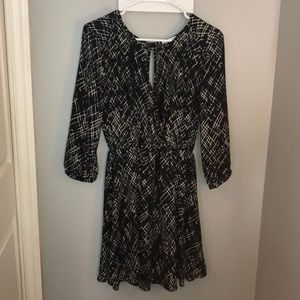 Black and Cream sleeved dress